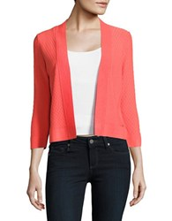 Ivanka Trump Textured Open Front Sweater Coral