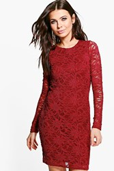 Boohoo Floral Sequin Long Sleeved Bodycon Dress Berry