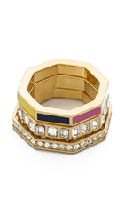 Marc By Marc Jacobs Octagon Stacking Rings Fuschia Purple Multi