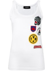 Dsquared2 Patch Embroidered Tank Top White