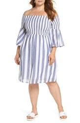 Lucky Brand Plus Size Off The Shoulder Stripe Smocked Dress