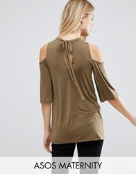 Asos Maternity Top With Cold Shoulder Frill Sleeve In Slinky Olive Green