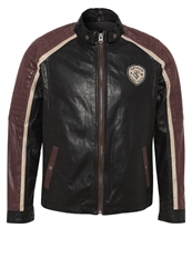 Tom Tailor Leather Jacket Black Antique Maroon