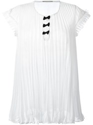 Marco De Vincenzo Pleated Sheer T Shirt White