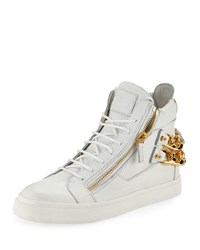 Giuseppe Zanotti Men's Chain Back High Top Sneaker White