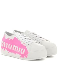 Miu Miu Leather Platform Sneakers White