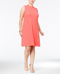Ing Trendy Plus Size Mock Neck Shift Dress Coral