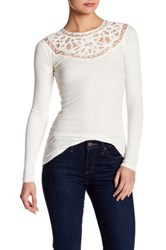Jessica Simpson Ribbed Lace Tie Back Shirt White