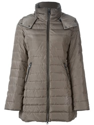 Armani Jeans Hooded Padded Coat Nude And Neutrals