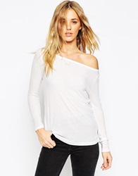 Asos Top With Off Shoulder Detail In Slouchy Fabric White