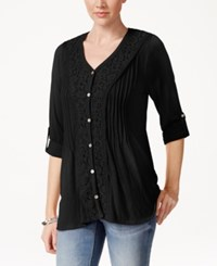 Styleandco. Style And Co. Lace Three Quarter Sleeve Top Only At Macy's
