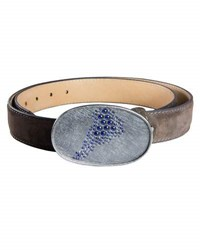 Todd Reed Leather Cuff Bracelet With Blue Sapphires