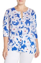 Plus Size Women's Foxcroft Floral Print Linen And Cotton Cardigan