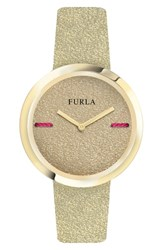 Furla Piper Leather Dial Leather Strap Watch 34Mm Gold Gold Metallic Gold
