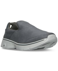 Skechers Men's Gowalk 4 Leather Textile Walking Sneakers From Finish Line Charcoal