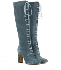 Etro Suede Lace Up Knee Boots Turquoise