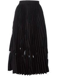 Msgm Sheer Pleated Skirt Black