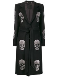 Philipp Plein Crystal Skull Coat Black