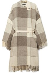 Jil Sander Belted Fringed Checked Wool Twill Coat Gray