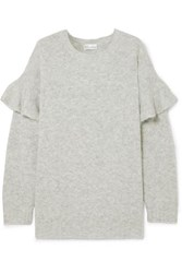 Red Valentino Redvalentino Ruffled Knitted Sweater Gray