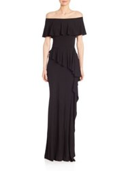 Teri Jon By Rickie Freeman Off The Shoulder Ruffle Gown Black