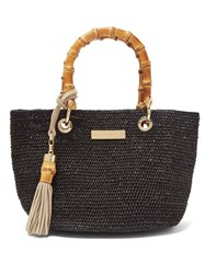Heidi Klein Savannah Bay Mini Raffia Tote Bag Black