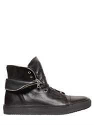 John Varvatos Zipped Collar High Top Leather Sneakers