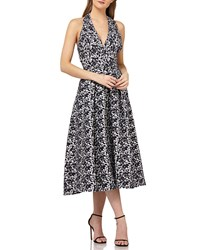 Kay Unger New York Halter Dress In Stretch Jacquard Navy Multi