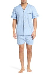 Majestic International Men's Cotton Short Pajamas Light Blue Check