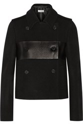 Jil Sander Cropped Leather Paneled Wool Peacoat Black