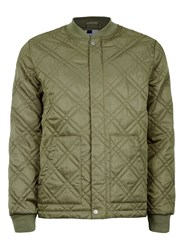 Topman Green Khaki Quilted Lightweight Puffer Jacket