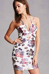 Forever 21 Floral Scuba Knit Cami Dress Ivory Multi