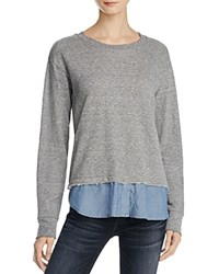 Current Elliott The Detention Layered Look Sweatshirt Heather Grey