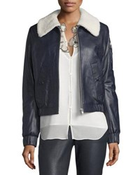 See By Chloe Leather Bomber Zip Front Jacket Navy