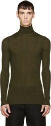 Alexander Mcqueen Green Wool Ribbed Turtleneck