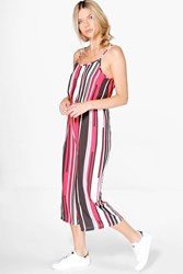 Boohoo Striped Culottes Jumpsuit Red