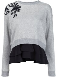 Derek Lam 10 Crosby Floral Lace Ruffled Sweatshirt Grey