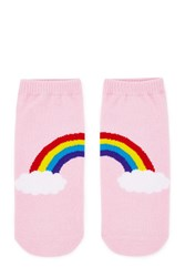 Forever 21 Rainbow Graphic Ankle Socks Pink Multi