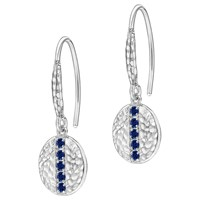 Dower And Hall Lumiere Sterling Silver Geo Sapphire Drop Earrings Silver Blue