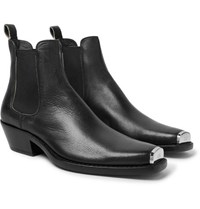 Calvin Klein 205W39nyc Chris Metal Toe Cap Full Grain Leather Boots Black