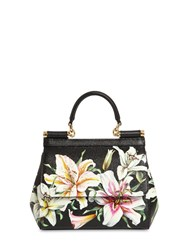 Dolce And Gabbana Mini Sicily Lily Print Leather Bag Gigli Nero