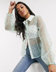 Parisian Organza Polka Dot Blouse With Volume Sleeves In Mint Green