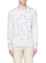 Scotch And Soda Cat Embroidered Sweatshirt Grey