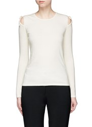 Elizabeth And James 'Ryan' Cutout Shoulder Sweater White