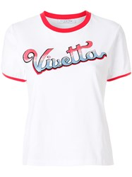 Vivetta Embroidered Logo Ringer Tee White