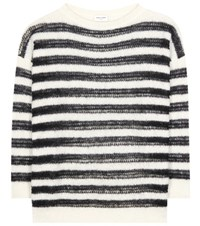 Saint Laurent Striped Mohair Blend Sweater Black