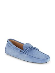 Tod's Suede Tie Moccasins Blue
