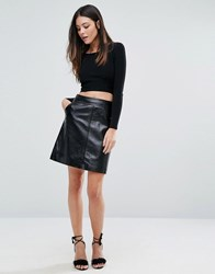 Warehouse Patent Leather Pelmet Skirt Black