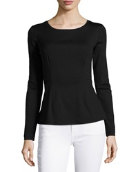 Lafayette 148 New York Peplum Long Sleeve Tee Black