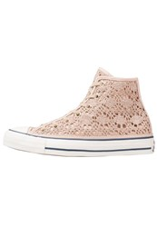 Converse Cuck Taylor All Star Hi Crochet Hightop Trainers Light Gold White Navy